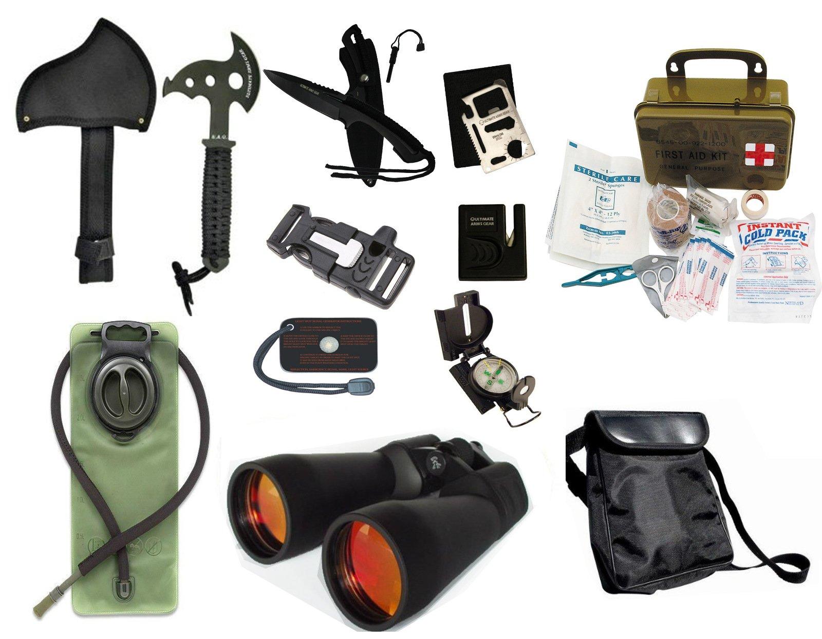 Survival Camping Hiking 20X70 Binoculars Ruby,Emergency First Aid Kit, Sharpener, Axe, Fire Starter Blade, Whistle Flint Striker Belt Buckle, Hydration Bladder, Multi Tool, Compass, Signal Mirror