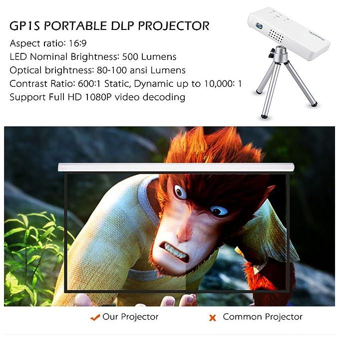 exquizon gp1s DLP por compacto cine en casa Pico proyector (500 ...