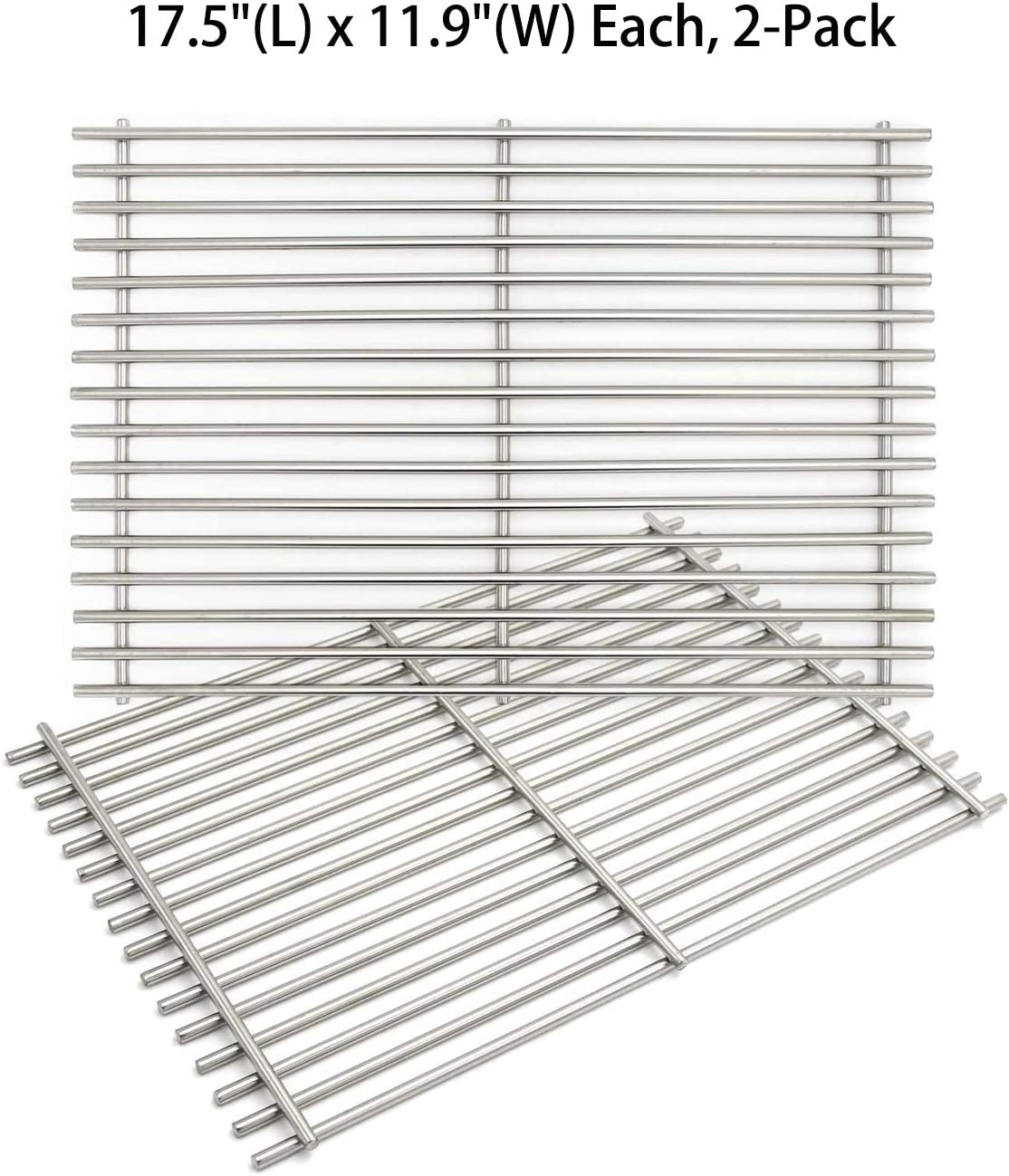 """Hongso 7639 7638 17.5"""" SUS 304 Gas Grill Cooking Grates Replacement for Weber Spirit 300 Series, Spirit 700, Genesis Silver B/C, Genesis Gold B/C, Genesis Platinum B/C, Genesis 1000-3500, SCG638"""