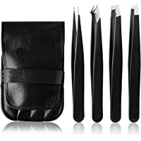 Tweezers Set - H HOME-MART Professional Stainless Steel Tweezers for Eyebrows - Great Precision for Facial Hair…