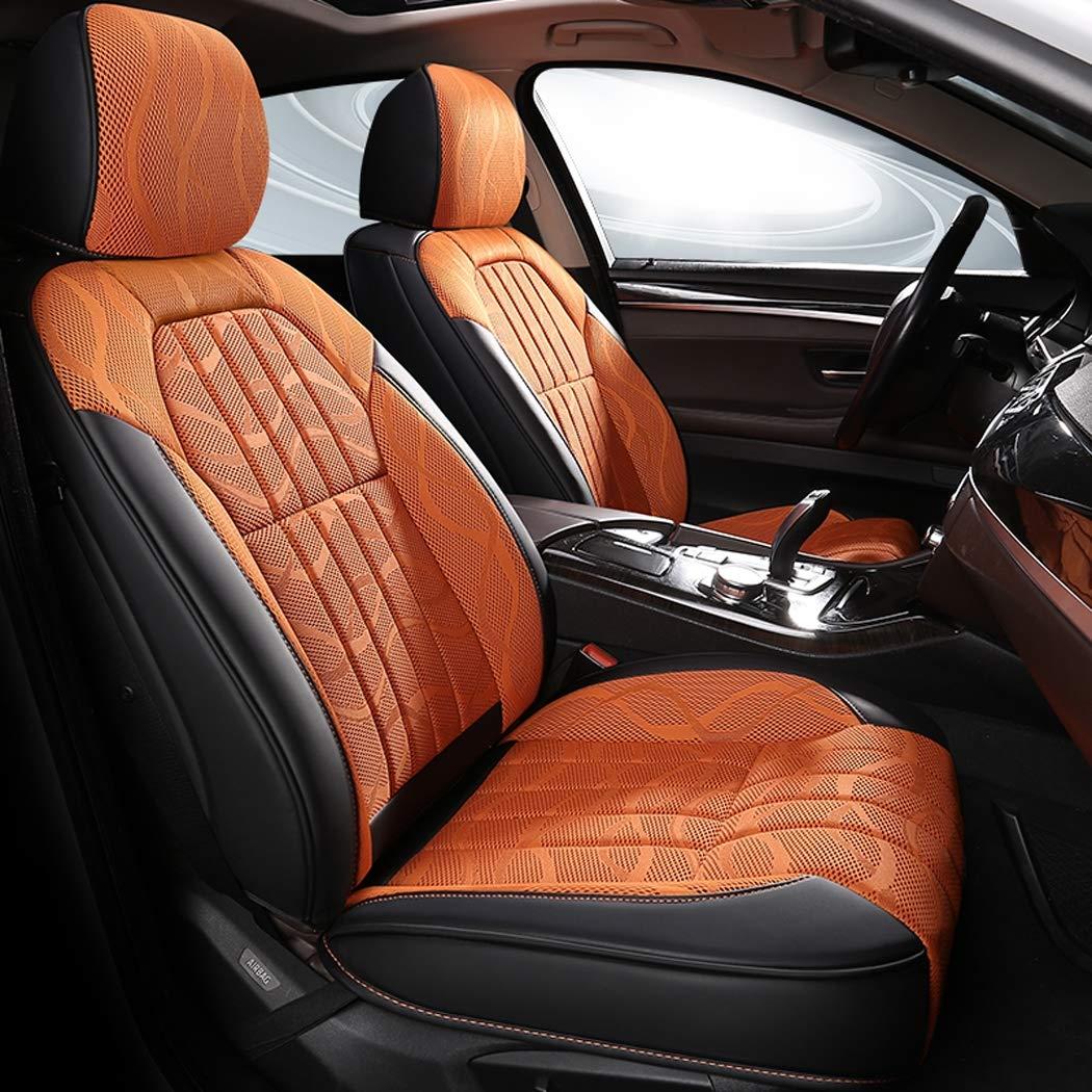四季ユニバーサルクッションレザーは、車のシートカバーで囲まれた3Dの通気性のクッションは、5つのシートカー B07KSXNS8F Orange  Orange