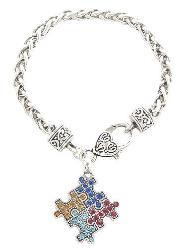 Uniqueen Autism Awareness Puzzle Jigsaw Classic Square Crystal Charm Bracelet pjOT4brC9