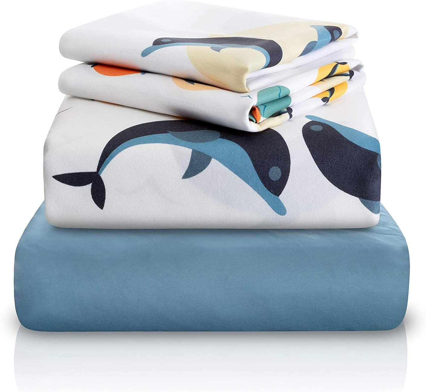 "Chital 4 Pc Full Bed Sheets | Dolphin Themed Kids Bedding Set | Marine Animal Collection | Durable Super-Soft, Double-Brushed Microfiber | 1 Flat & 1 Fitted Sheet, 2 Pillow Cases | 15"" Deep"