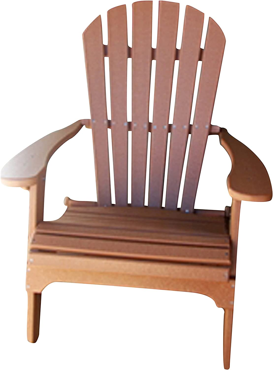 Phat Tommy Recycled Poly Resin Folding Adirondack Chair – Durable and Eco-Friendly Patio Furniture Armchair, Tan