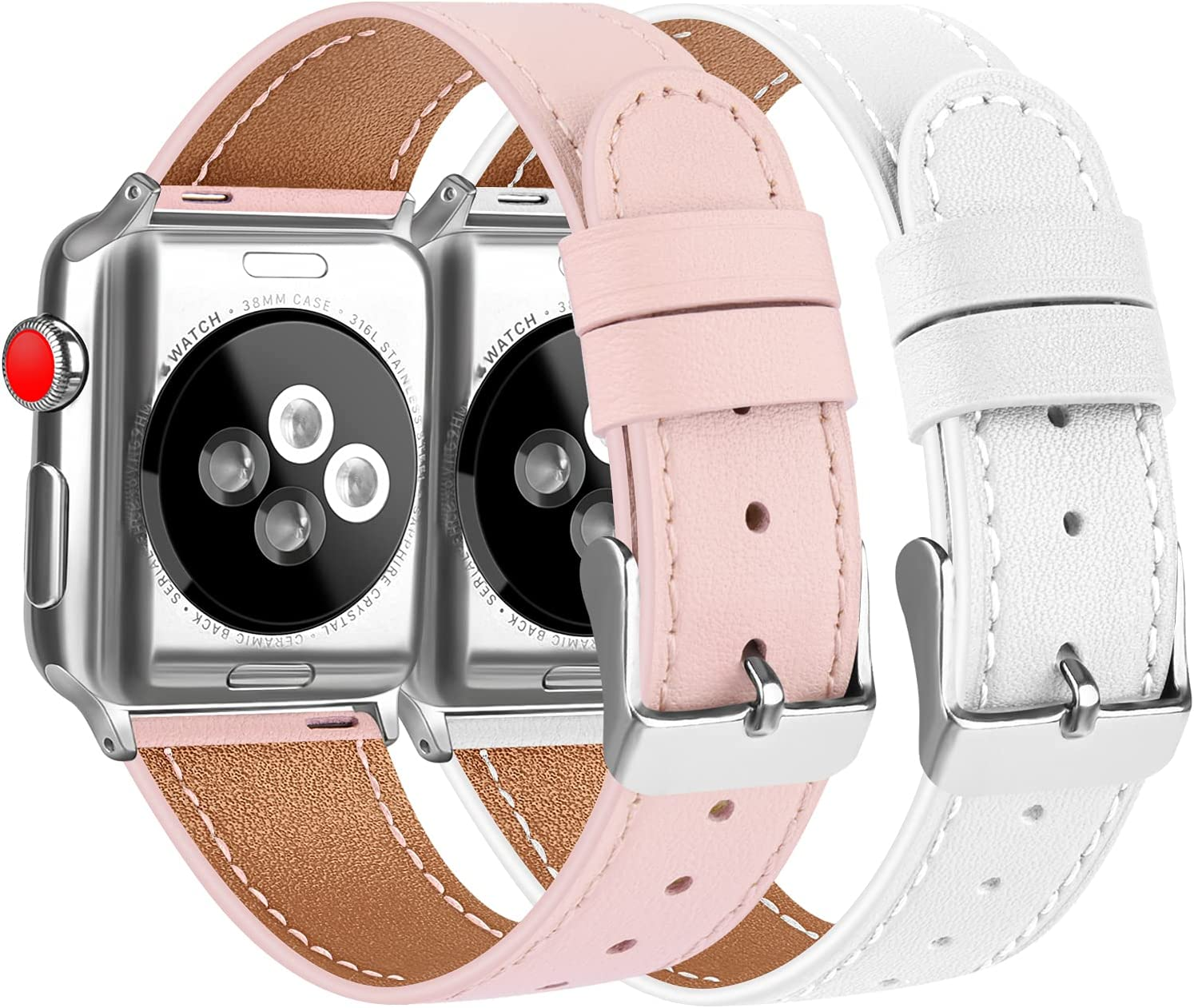 [2 Pack] Leather Bands Compatible with Apple Watch Bands 44mm 42mm for Women Men, Soft Leather Straps for iWatch SE & Series 6, Series 5, Series 4, Series 3, Series 2, Series 1, Pink & White
