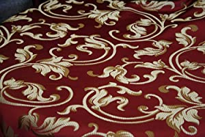 "Damask Jacquard, Upholstery and Drapery 58"" Jacquard Fabric Sold by The Yard (Burgundy 400 Floral)"