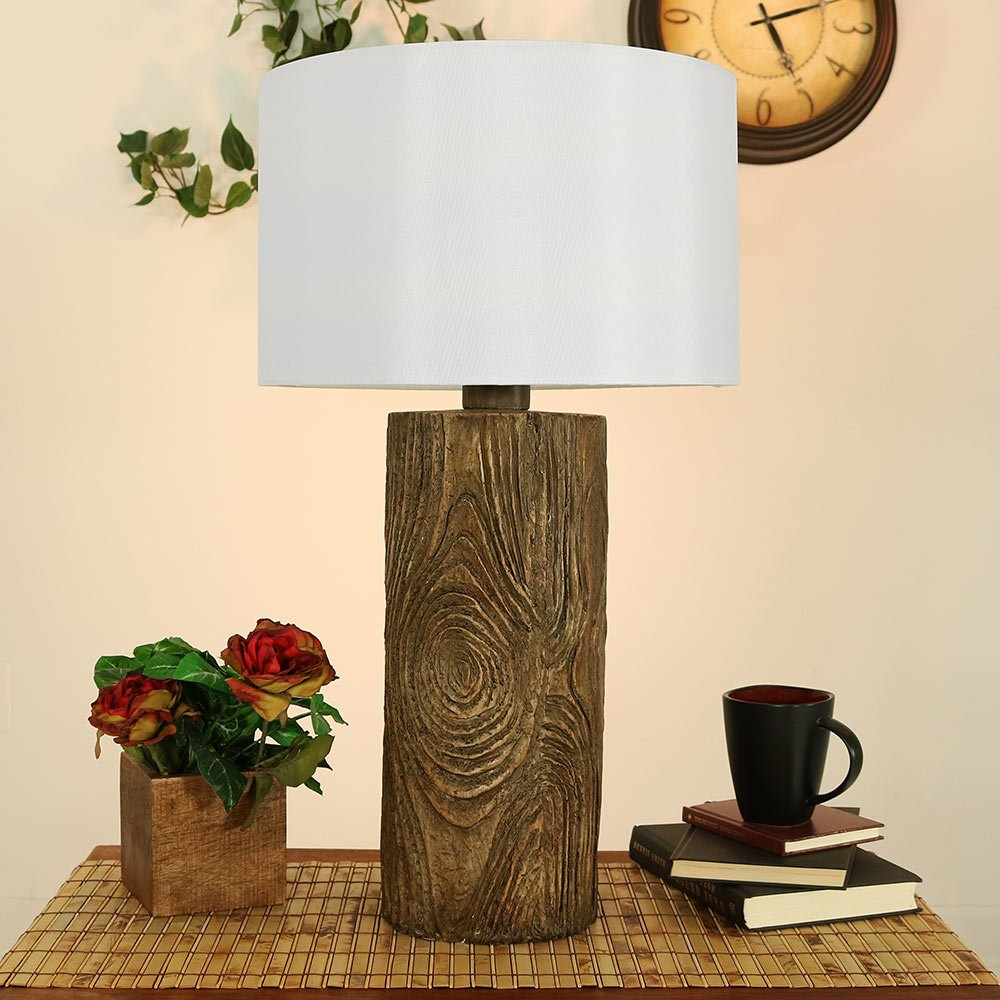Sunnydaze Indoor Rustic Lodge Polyresin Table Lamp, 26 Inch