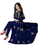 Clothfab Women's Georgette Embroidered With Stone Work Pary Wear Anarkali Style Semi-Stitched Salwar Suit Dress Material With Dupatta (Blue-Colour)