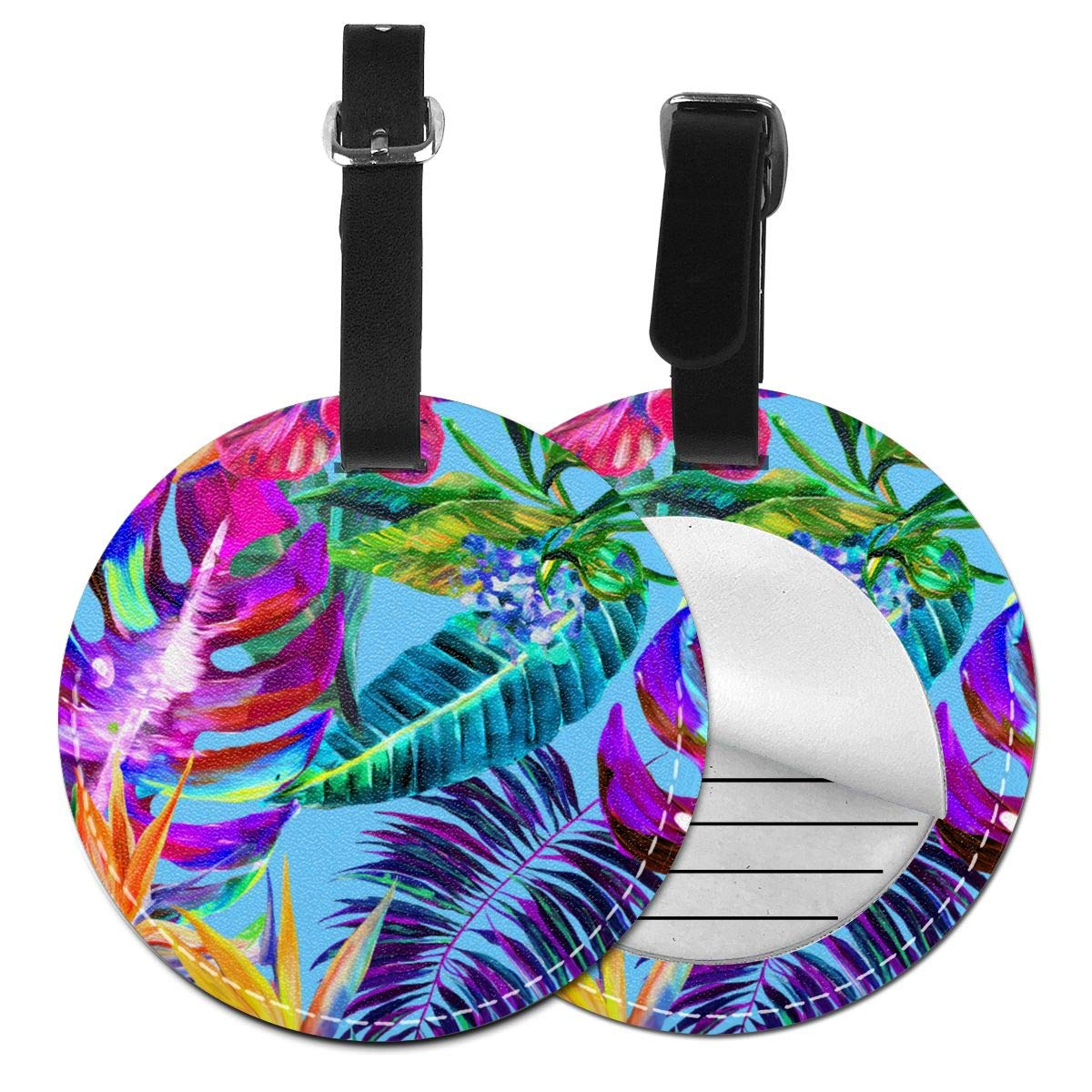 Colorful Tropical Pattern Jinsshop 4 PCS Leather Luggage Tag With Name ID Card Perfect To Quickly Spot Luggage Suitcase