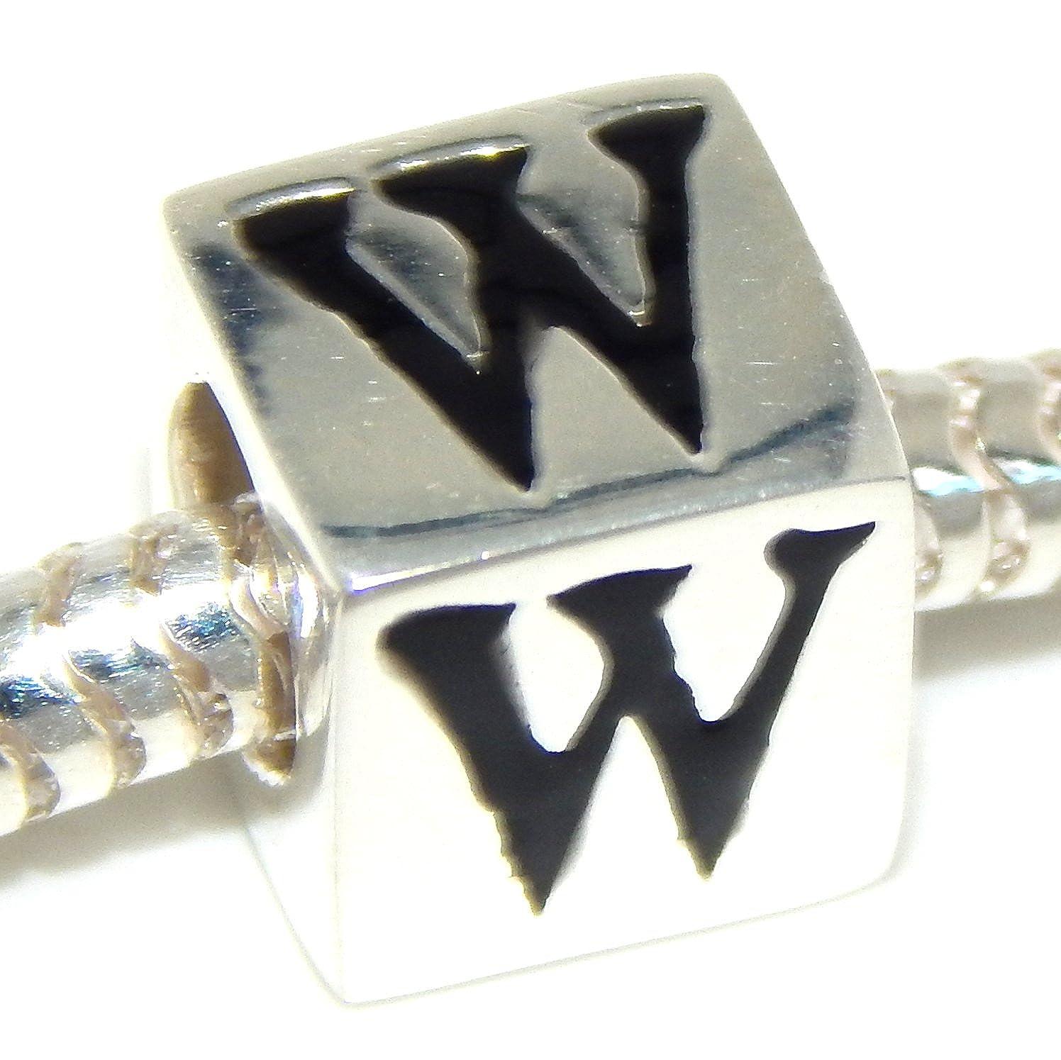 ICYROSE Solid 925 Sterling Silver Block Letter Charm Bead for European Snake Chain Bracelets