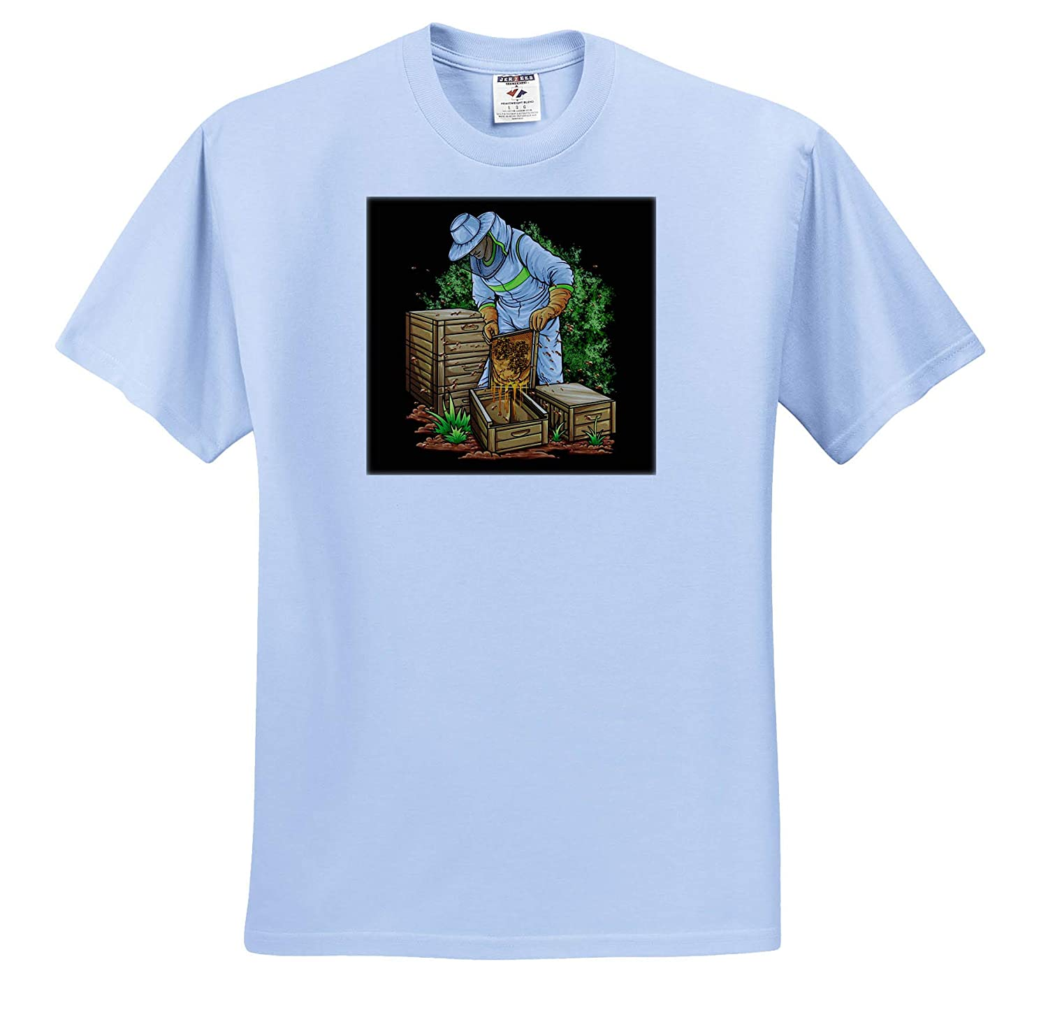 3dRose Sven Herkenrath Beekeeper ts/_314104 Adult T-Shirt XL Illustration of Beekeeper with Bees and Honeycomb Honey