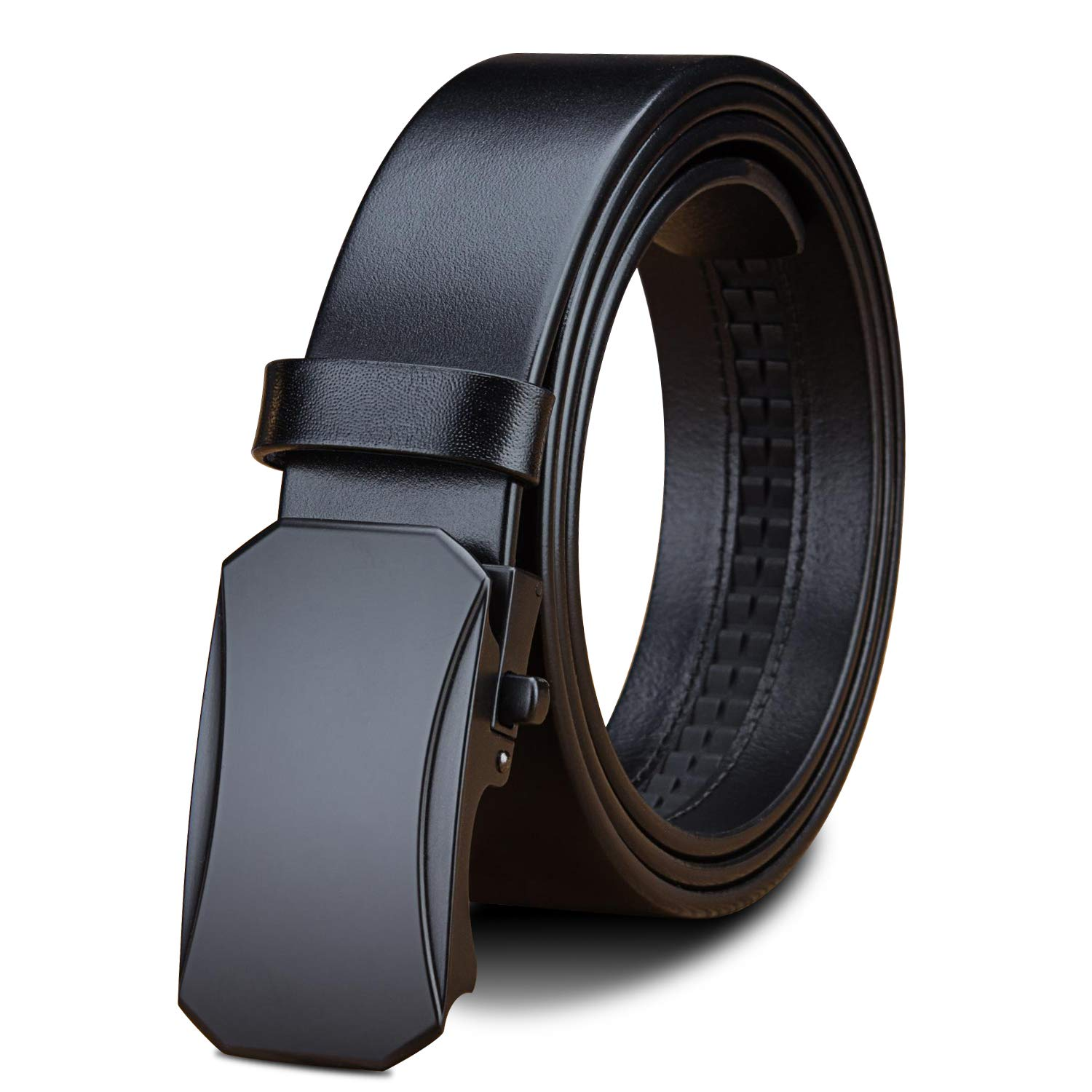 LUCIANO Automatic Buckle Italy Cowhide Black Brown Genuine Leather Mens Dress Belt