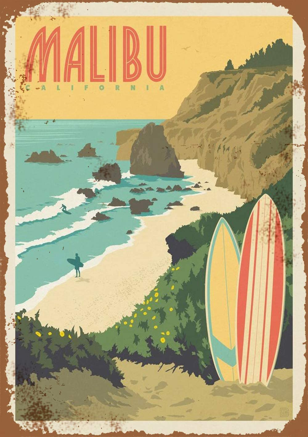 "PAGAIXI Wall Decor Farm Bar Art Decorations Home Pub Metal Sign 16"" x 12"" Tin Signs Malibu Beach Vintage,for & Garageation"