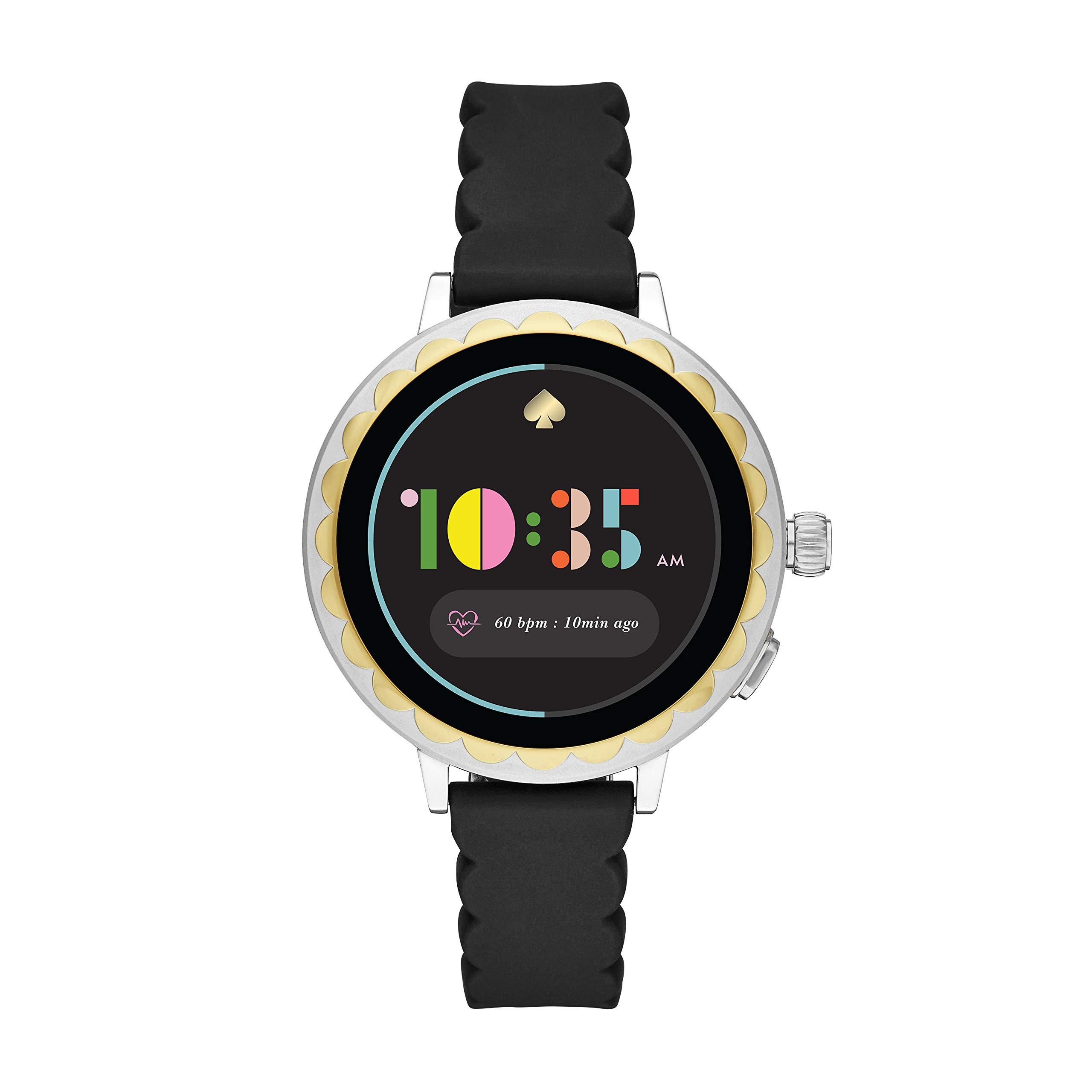 Kate Spade New York Women's Scallop 2 Stainless Steel Touchscreen smartwatch Watch with Silicone Strap, Black, 16 (Model: KST2008