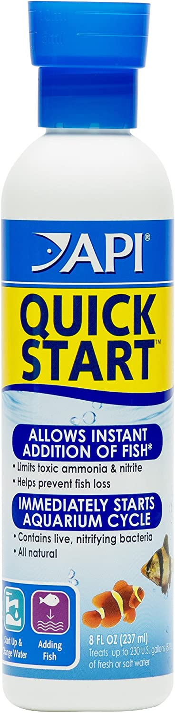 API Quick Start Freshwater and Saltwater Aquarium Nitrifying Bacteria 8-Ounce Bottle