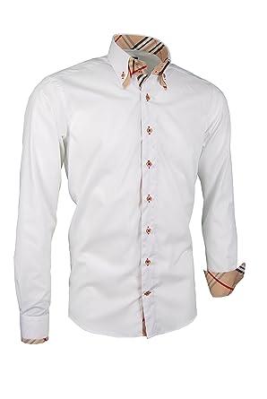 new arrival 6bbaa f0373 Giorgio Capone Premium Herrenhemd, 100% Baumwolle, weiß, Doppelkragen mit  Streifen-Look, Langarm, Slim/Normal & Regular-Plus Fit