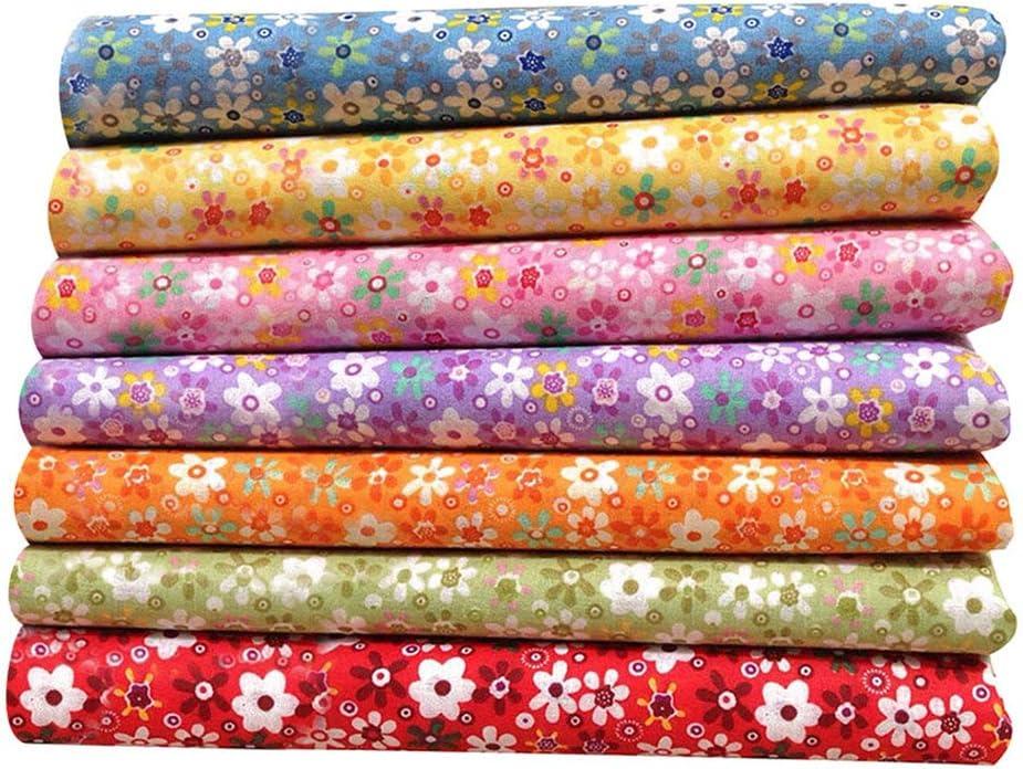 Collecsound - 7 piezas de tela floral de algodón con impresión suave a mano, para manualidades, ropa de muñeca, ropa de bricolaje, costura y patchwork