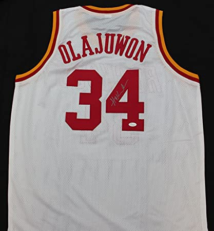 77d4b1ac0 Hakeem Olajuwon Autographed White Houston Rockets Jersey - Hand Signed By Hakeem  Olajuwon and Certified Authentic