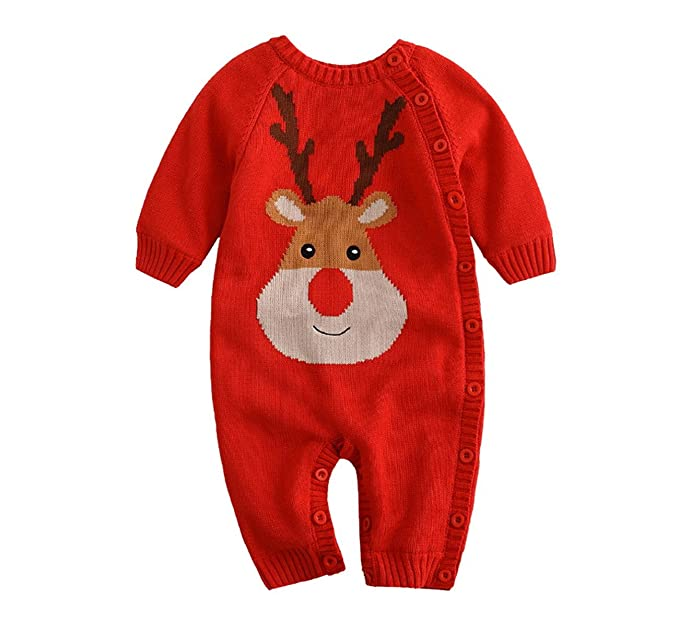 e1729dedebc7 AHATECH Baby Romper Long Sleeve Christmas Thickening Velvet Sweaters ...