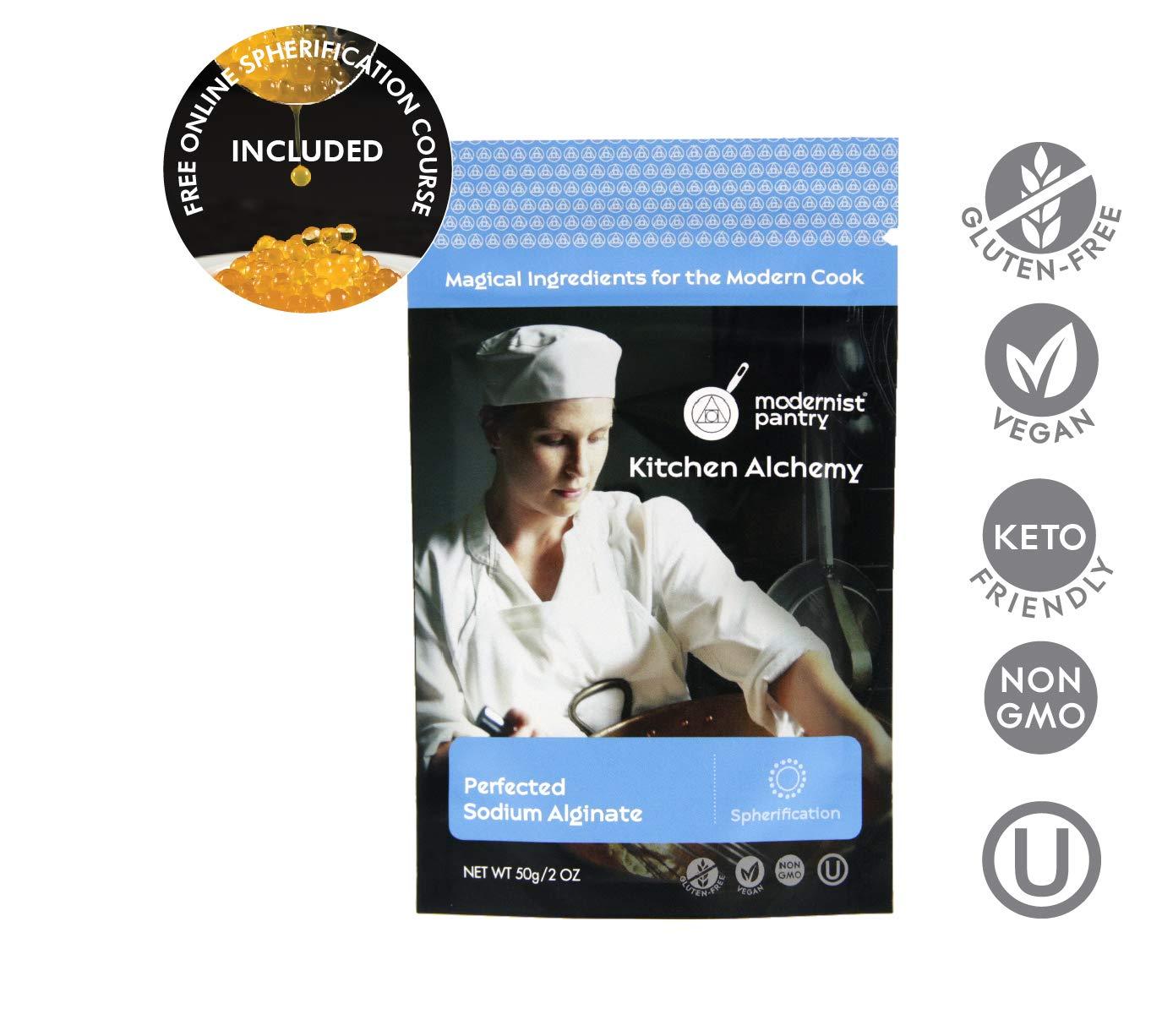 Perfected Sodium Alginate ? Non-GMO ? Vegan ? OU Kosher Certified - 50g/2oz
