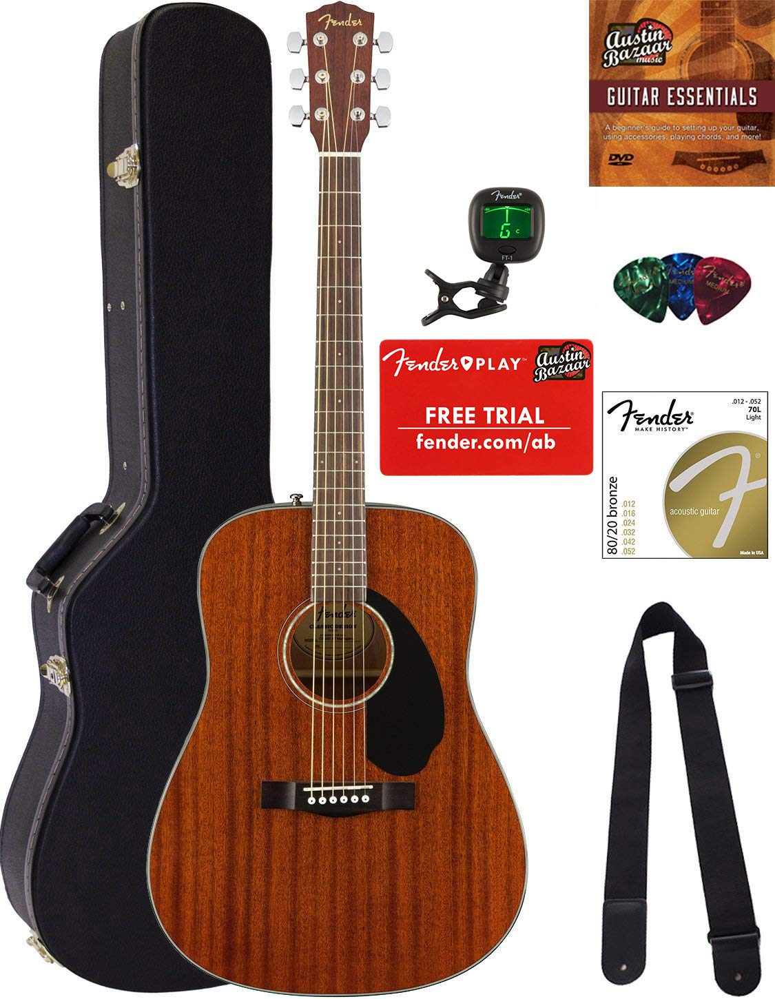 Fender CD-60S Solid Top Dreadnought Acoustic Guitar - All Mahogany Bundle with Hard Case, Tuner, Strap, Strings, Picks, Austin Bazaar Instructional DVD, and Polishing Cloth by Fender