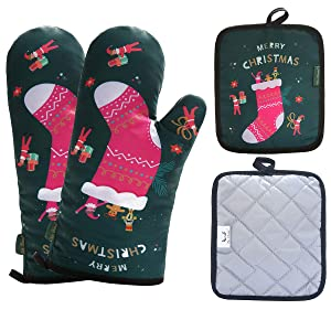 Win Change Oven Mitts and Potholders Christmas-Pot Holders and Oven Mitts Heat Resistant with Recycled Cotton Infill Silicone Non-Slip Cooking Gloves for Cooking Baking Grilling (4-Piece Set) (Green)