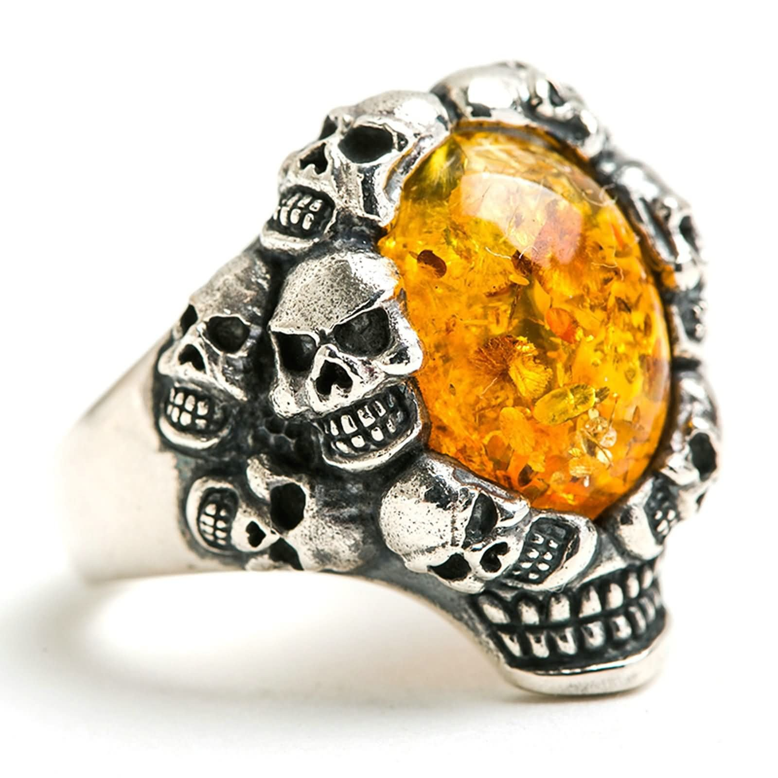 Bishilin Rings for Men Silver Plated Skull Oval Amber Friendship Rings Silver Size 12.5 by Bishilin (Image #2)