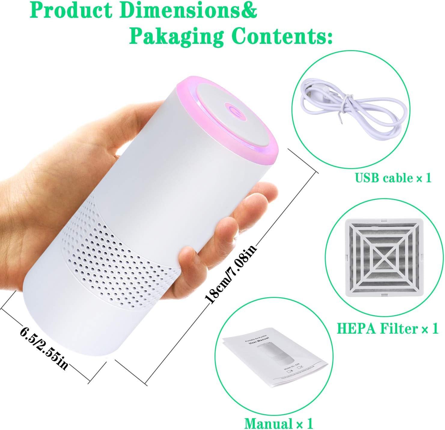 Purificatore daria con filtro HEPA per auto casa e ufficio purificatore silenzioso perfetto contro polvere e allergeni di animali