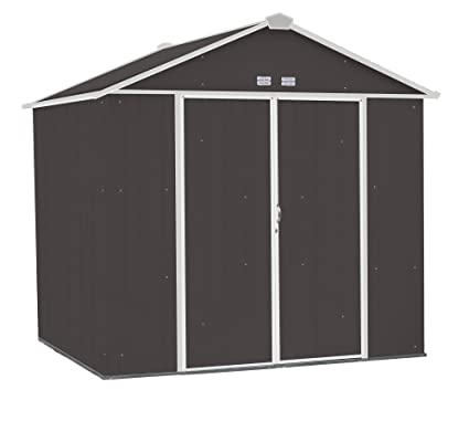 Arrow EZEE Shed High Gable Steel Storage Shed, Charcoal/Cream Trim, 8 X