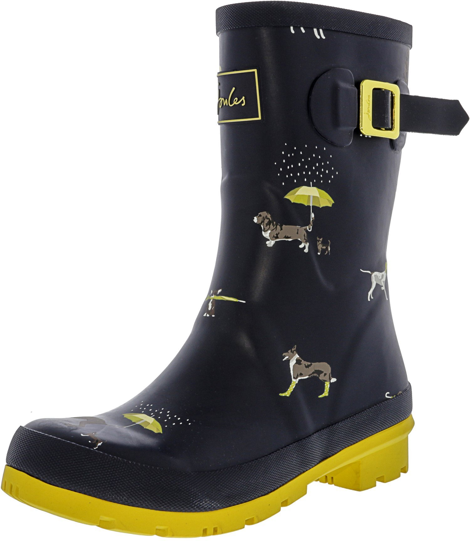 Joules Women's Mollywelly Rain Boot, Navy Raining Dogs, 8 Medium US