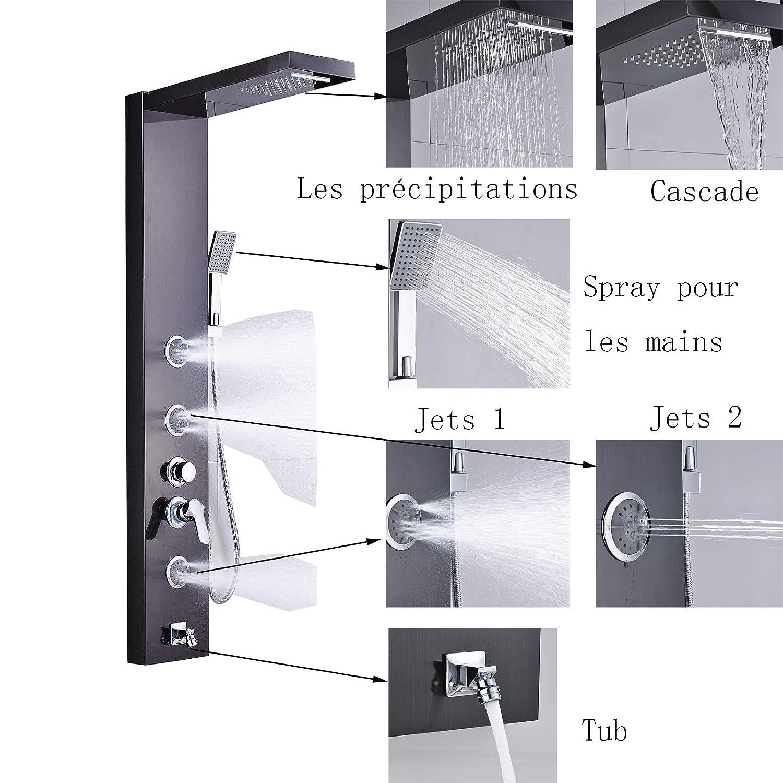 Saeuwtowy Ensemble de Douche Colonne de Douche en Acier Inox Noir Multifoctionnel avec Pommeau de Douche Haut+Pommeau de Douche /à Main 5 modes de douche diff/érents,Syst/ème de douche pour salle de bain