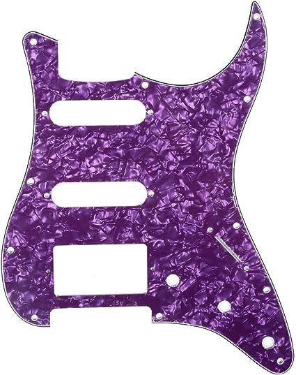 IKN 11 Agujeros SSH Estilo Scratchplate Pickguard Guard Plate para American//Mexican Standard Fender Strat,4-Ply Perla Azul