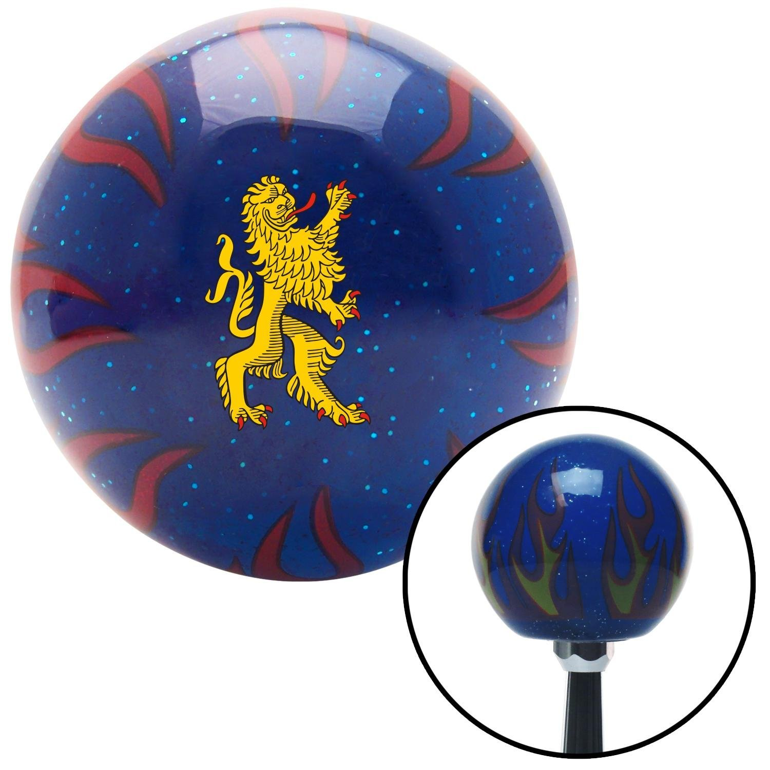 Bavarian Lion American Shifter 251823 Blue Flame Metal Flake Shift Knob with M16 x 1.5 Insert