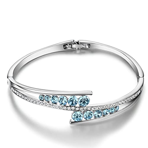 Menton Ezil `Love Encounter` con Cristales Swarovski Brazalete Mujer Blanco Dorado de Pulsera Bisagra Ajustable Joyas Mujeres Regalos
