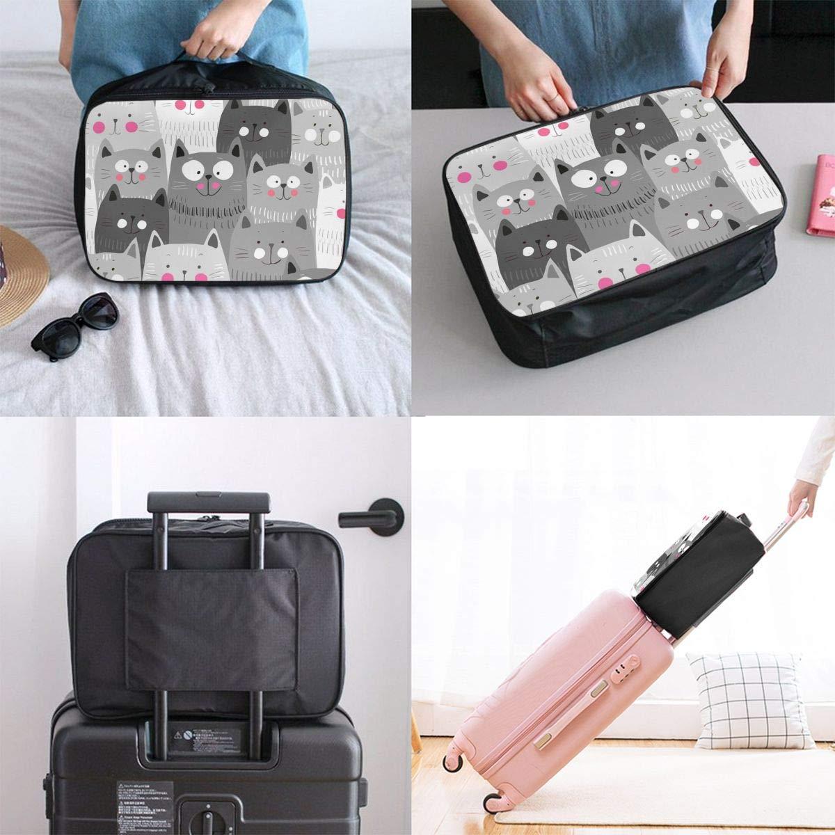Travel Duffel Bag Waterproof Fashion Lightweight Large Capacity Portable Luggage Bag Grey Cat