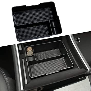 Center Console Tray for Tesla Model 3 leegoal Car Organizer Tray with Sunglass Holder and Phone Holder for Tesla Accessories Compatible with 2016 2017 2018 2019 Tesla Model 3 Vehicles