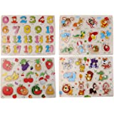Sharplace Pack of 4 Sets Wooden Peg Jigsaw Puzzle Kids Preschool Early Learning Toy Birthday Gift