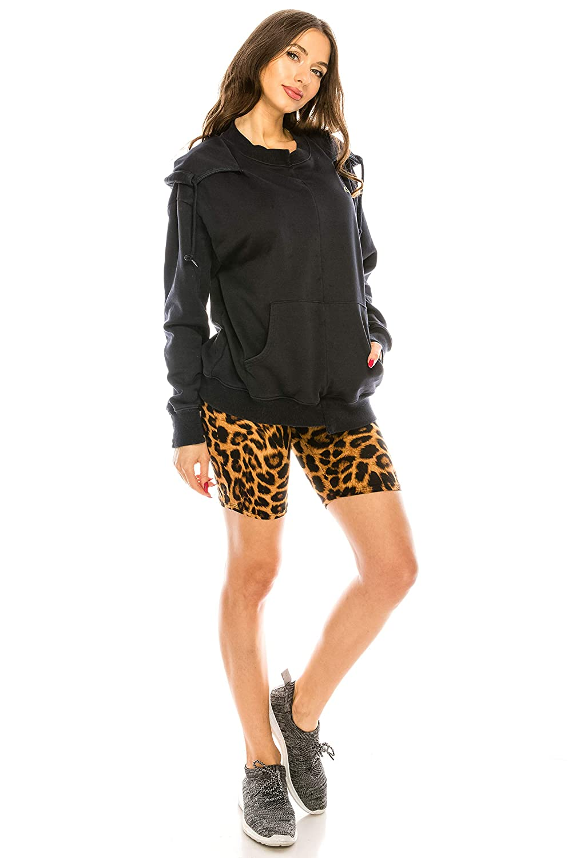 CNC STYLE Womens Knee Length Stretch High Waist Leopard Print Active Bike Yoga Short Leggings B003S1A