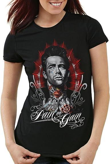 style3 Dean Tatuaje Camiseta para Mujer T-Shirt James Rock tatuarse Biker Estados Unidos: Amazon.es: Ropa y accesorios