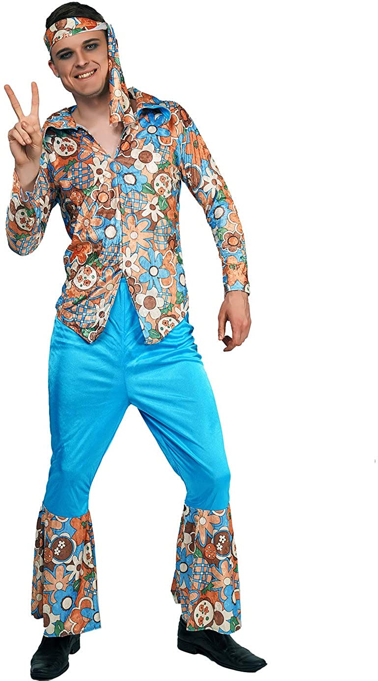1970s Men's Clothes, Fashion, Outfits Mens Hippy 60s 70s Flower Hippie Groovy Costume  AT vintagedancer.com