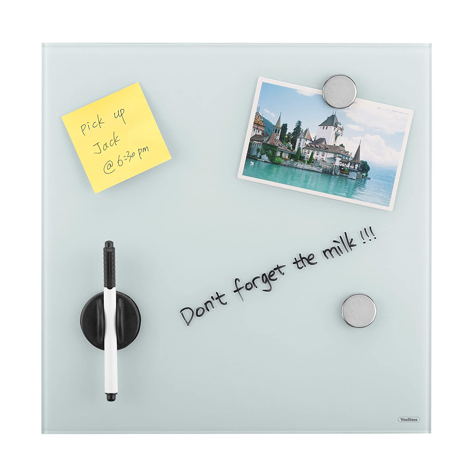 VonHaus Glass Magnetic Memo Board 350 mm x 350 mm, Bulletin Board ...