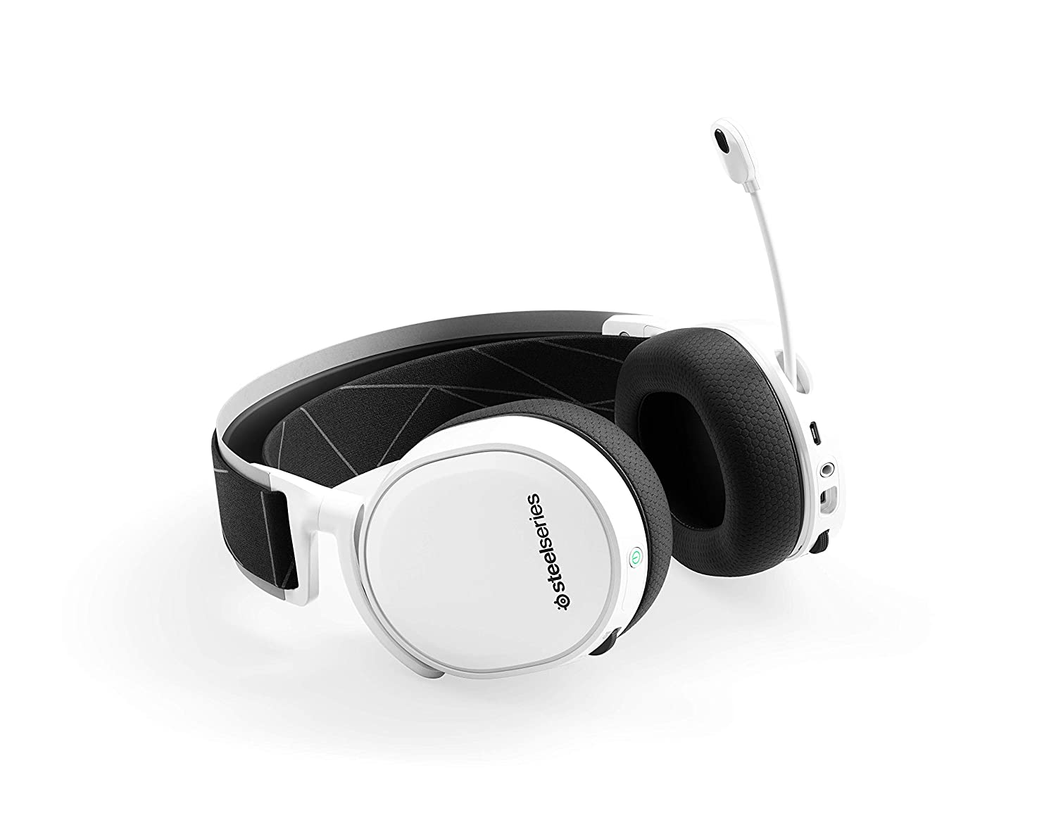 White SteelSeries Arctis 5 2019 Edition RGB Illuminated Gaming Headset with DTS Headphone:X v2.0 Surround for PC and PlayStation 4