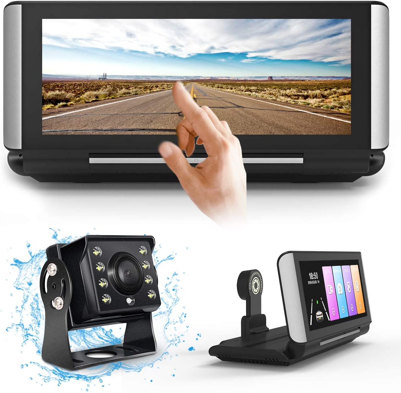 FHD Backup Camera Dual Dash Cam Streaming Media 3 in 1 for Truck RV Trailer Bus Vans Campers Motorhome,7 inch Center Stack Full Touch Screen Front and Rear View Parking Guideline