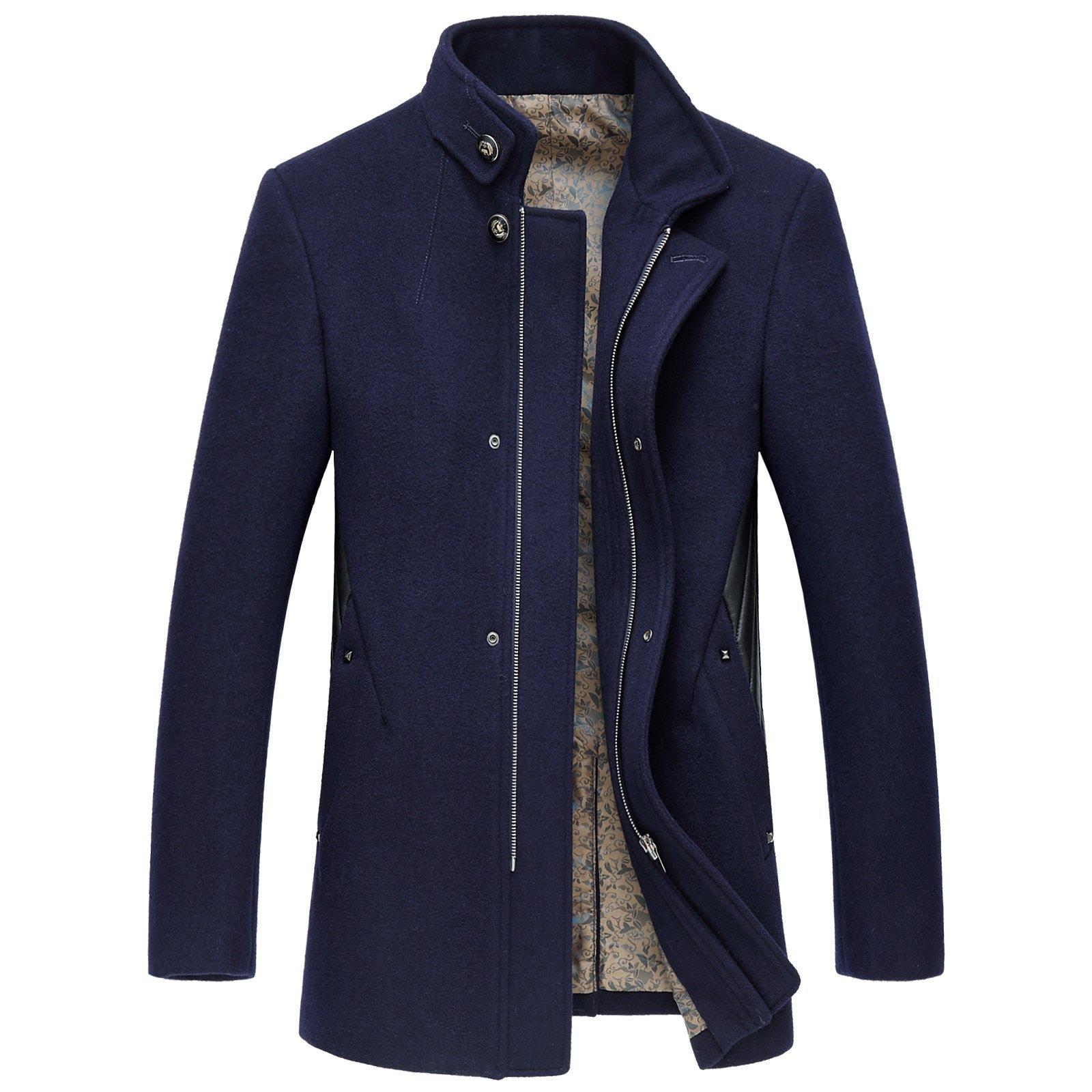 Fortuning's JDS Winter Warm Short Woolen Stand Collar Single Breasted Slim Business Coat Jacket for Men