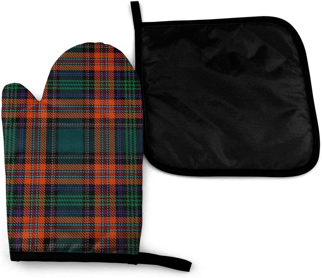 Lozeow Mitts Greenredblack Blue Tartan Plaid Scottish Seamless Oven Gloves Heat Resistant – Silicone Quilted Non Slip Mitts for Handling Hot Surface