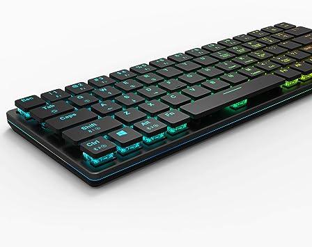 anidees Prismatic Gaming Teclado mecánico RGB LED Retroiluminado Key Extra-Thin & Light, Kailh Low Profile conmutadores blancos, 67 teclas, con cable ...