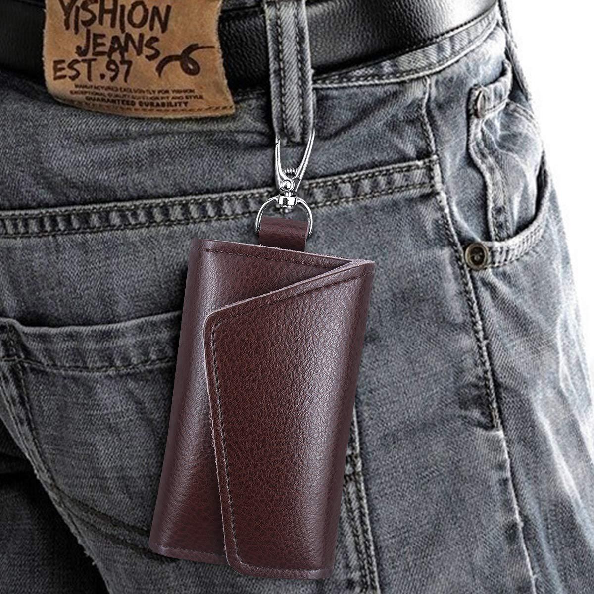 Slim Compact /Étui Portefeuille Cl/é pour Femmes Hommes Unisexe Marron Pochette Porte Clef Cuir avec 6 Cl/és Crochets Etuis Porte Cl/és Cuir