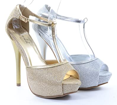 Amazon.com: Glitter T-Strap Open Toe Wedding Formal Heels Gold or ...