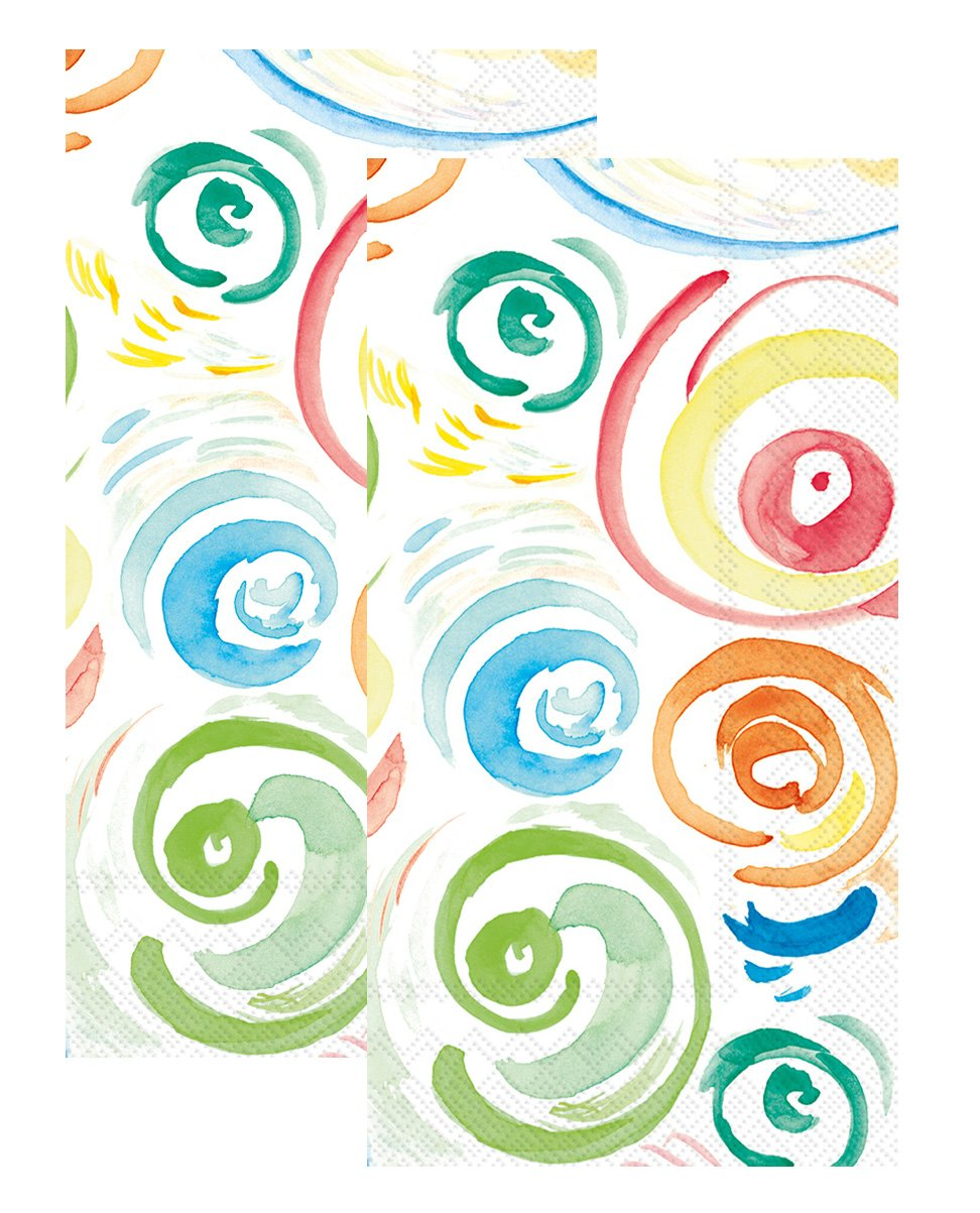 Ideal Home Range 3-Ply Paper Happy Circles, 16 Count Guest Towel Napkins Set of 2