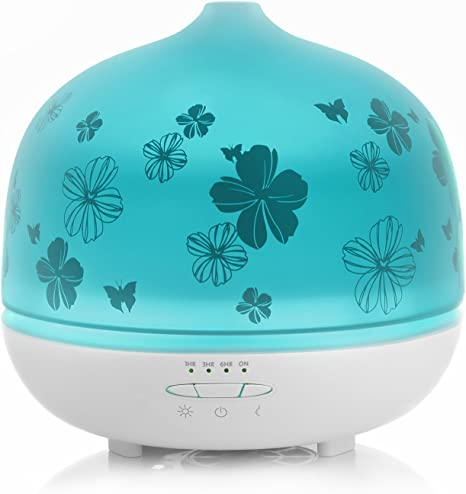 500ml Glass Aromatherapy Essential Oil Diffusers, ISELECTOR Ultrasonic Cool Mist Air Humidifier with 7 Changing LED Colors, Waterless Auto Shut off